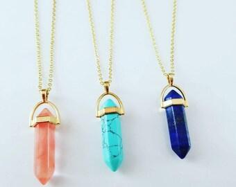 Lapis lazuli Pendulum Chain Gold Fill / Turquoise  Pendulum chain Gold fill / Coral Pendulum Chain Gold Fill  / Meditation Chain Gold Chain
