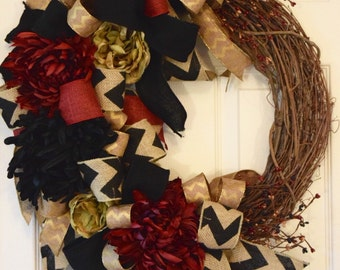 Grapevine Wreath with Burgundy, Black and Gold Ribbons and Flowers; Everyday Wreath Decor; Classy Wreath Decor; Neutral Wreath Decor