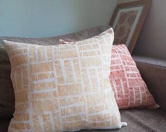 Scandi lemon cushion cover handprinted