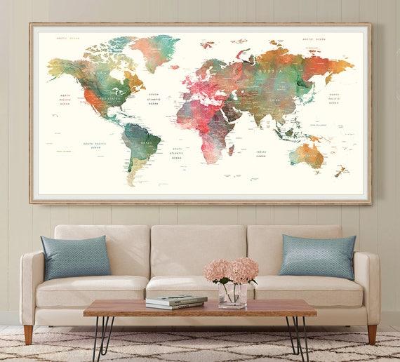 World Map Wall Art Large Watercolor Push Pin World Map Poster