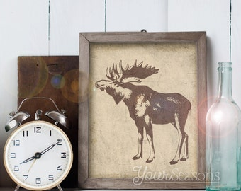 Moose Print - Rustic Wall Decor - 8x10 printable digital file - INSTANT DOWNLOAD!