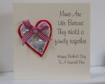Mother's Are Like Buttons Heart Card