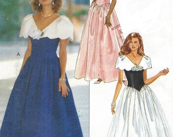 90s Womens Dropped Waist Dress Wide Collar Butterick Sewing Pattern 6644 Size 6 8 10 12 Bust 30 1/2 to 34 UnCut Bridesmaid or Prom Dress