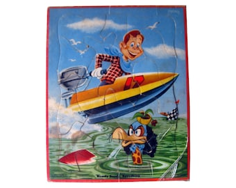 Howdy Doody Tray Puzzle Howdy Doody Speedking - Motor Boat - Jigsaw Puzzle - Whitman Publishing - 1950s Toy - Vintage Puzzle - Kids Puzzle