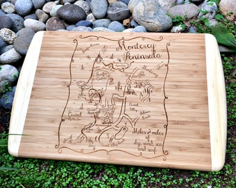 Monterey Peninsula Map Large Bamboo Cutting Board