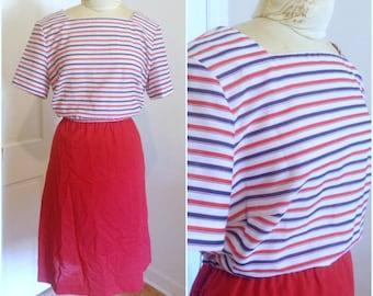 1980s Nautical Vintage Sheath Dress, size extra large, 16 18 xl 1x, plus size dress, nautical dress, patriotic colors, vintage plus size
