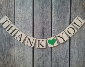 THANK YOU banner, wedding banner, thank you sign, thank you wedding banner, wedding photo prop banner, thank you photo prop