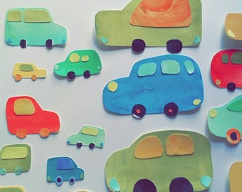 Zoom zoom, beep beep! Collaged cars, perfect for whimsical rooms for adults or children!