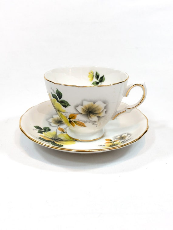 Royal Vale Tea Cup Saucer, English Bone China, Yellow White Woodland Flowers Green Orange Leaves, Garden Party Shabby Chic, Vintage Teacup