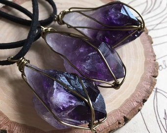 Raw Crystal Necklace - Crystal Necklace - Raw Amethyst Necklace - Crystal Healing Necklace - Amethyst Pendant - Stone Necklace