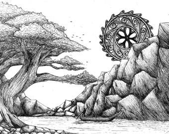Landscape Ink drawing, Giclee art print. A4, Original drawing, Ink illustration, Landscape drawing, Fine art, ink art, Black and white art