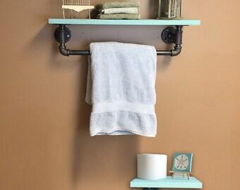 Beach Decor Industrial Shelves, Bathroom Shelf Unit, Pipe Shelves, industrial toilet paper holder and towel bar beach color shelf