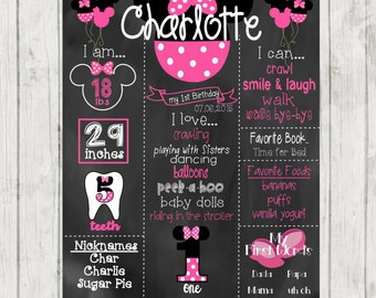 Printable Minnie Mouse First Birthday Chalkboard, Minnie Mouse Chalkboard Sign, 1st Birthday Chalkboard, First Birthday Chalkboard Sign