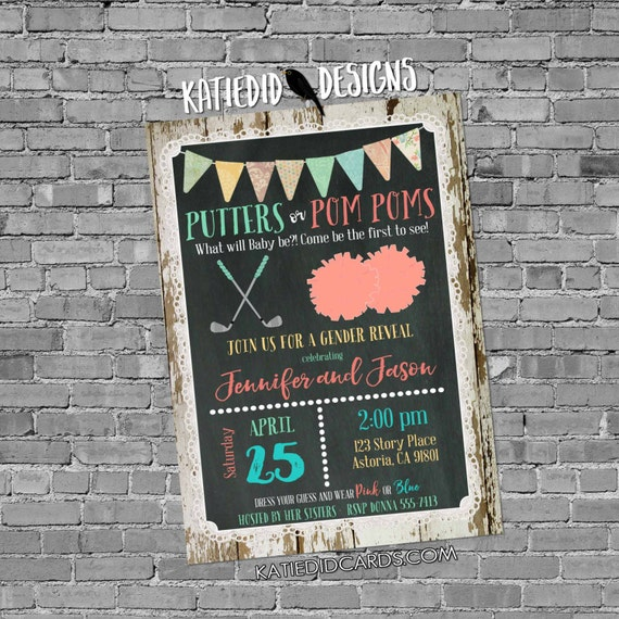 Golf gender reveal invitation putters or pompoms baby shower neutral twins diaper wipes couples chalkboard rustic coed | 1470 Katiedid Cards