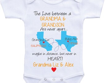 Personalized baby gifts state map onesies grandpa onsie grandma onesie personalized state map country grandma and granddaughter grandma and grandson i love grandma onsieshirt custom baby gifts negle Image collections