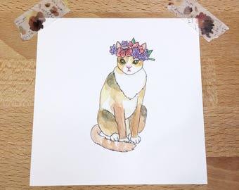 Cat Mini Print: cat art, watercolor, illustration, art print