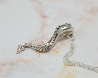 Dragon Tail Necklace in Sterling Silver, Silver Dragon Necklace, Dragon Pendant Silver, game of thrones jewelry, dragon jewelry silver