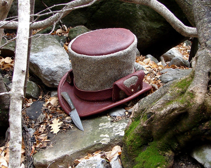 Herringbone Tweed and Bison-Hide Tophat, With Knife and Side Pouch