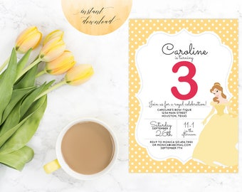 beauty and the beast invitations, belle invitation, princess belle invitation, birthday invitation, princess birthday printable