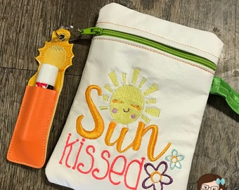 Handmade Sun Kissed Zipper Pouch with Matching Chapstick Holder, Beach Bag, Coin Purse, Keychain, Lip Balm Holder, Purse, Zipper Bag