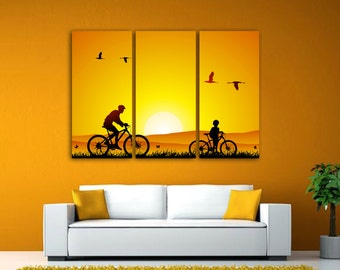 """Two bicyclists silhouette Art . 3 Panel split Art Canvas Print 1.5"""" deep frames- Gallery wrap for home office wall decor and interior decor"""