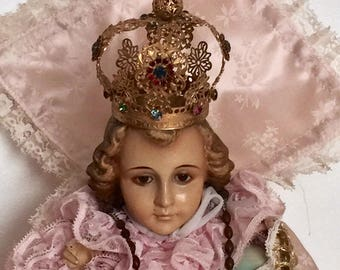 Antique Infant Jesus of Prague Statue with Glass Eyes - Customer Appreciation Sale