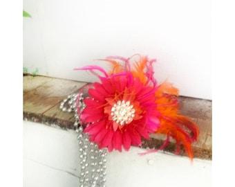 Daisy Fascinator Head Piece Comb /  Hair Clip. Fuchsia - Tangerine Orange Feathers, Ivory Pearl & Rhinestone. Statement Bridal Bride Wedding