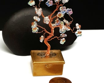 Spring Fairy Treasure Box Tree in Copper\  Tooth Fairy Box\ Tree of Life\ Wire Bonsai Tree\ Flowering Tree\Gifts for Her