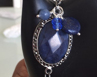 Blue Jasper Pave with semi-precious and glass bead charm accents
