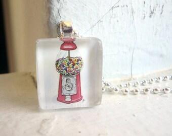 Gumball Machine Necklace, Glass Tile Pendant, Watercolor Art Print