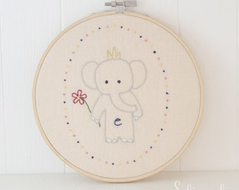 Little Elephant // Hand Embroidery PDF Pattern - Instand Digital Download // Hand Embroidery Design // Nursery Art // Needlecraft design