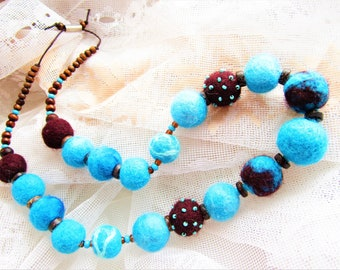 Turquoise necklace Necklace with felted balls Turquoise beads Brown necklace Felted Boho jewelery Felt beads necklace Rainbow necklace balls