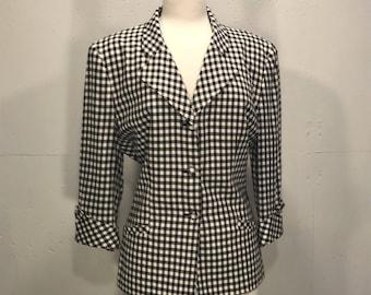 80s Liz Claiborne Jacket, Black and White Rayone Blazer,Lize Claiborne Petite Collection