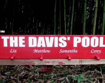 Custom Pool Sign~Towel Holder~Swimsuits~Family Names~Personalized~Gift~Swim