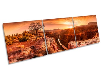 Grand Canyon Sunset Framed CANVAS PRINT Triple Wall Art