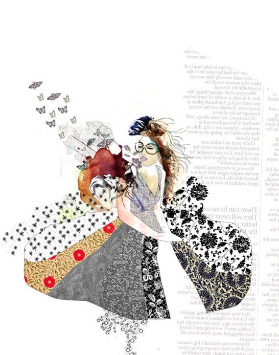 fashion illustration print fashion art collage art red and