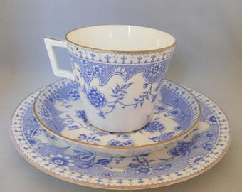 Antique 1910s 1920s 20s Windsor blue and white bone china cup & saucer plate trio