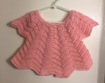 Crocheted Baby Sweater fits 3-12 months -Crocheted Pink Baby Sweater-Handcrafted Pink Baby Sweater-Handcrafted Baby Sweater fits 3-12 months