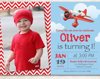Airplane birthday invitation airplane theme party invite boy airplane birthday invitation airplane theme party invite boy 1st first bday with custom photo red chevron stripes diy digital printable filmwisefo