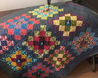 Modern Bright Great Granny Squared throw quilt