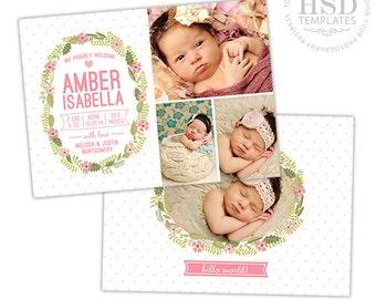 Birth Announcement Template for Girls - Newborn Announcement Template - Photography Photoshop Templates - BA169