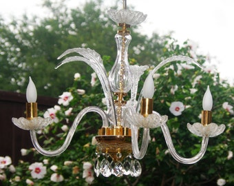 Chandeliers, Italian Made Murano Glass Crystal Chandelier, 4 Arm Crystal Chandelier, 4 Murano Glass Leafs, OOAK Murano Chandelier, 1960s