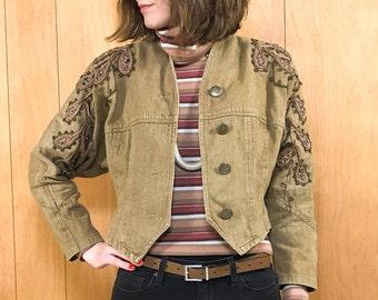 80s Cropped Jacket Khaki Embroidery Embellishment Batwing Dolman Sleeves Vintage Cropped Jacket ~ XS Small