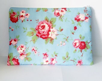 Cath Kidston Fabric iPad Case / Tablet Case/ iPad Cover - Pale Blue with Pink Cabbage Roses