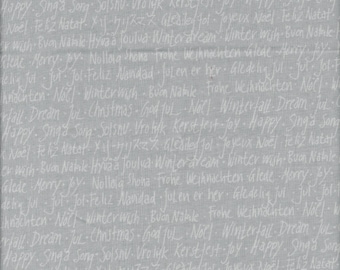 Holiday Text on Grey from Winterfall by Lecien Fabrics
