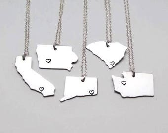 State Necklace - ANY City - Custom Necklace - State Jewelry - State Charm