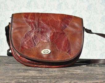 Leather bag, womens leather bag, vintage leather bag, leather shoulder bag, brown leather bag, patchwork leather bag, Italy leather bag