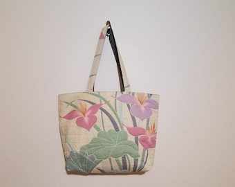 Tote Bag / Upcycled / 80s Floral / Quilted