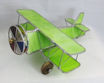 Stained Glass Airplane Kaleidoscope ~ Bi-Plane Lime Green Kaleidoscope ~ Pilots, Airplane Lovers, Handmade in USA, Unique Gift