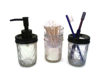 Mason Jar Bath Set Soap Dispenser Toothbrush Holder Swab And Cotton Ball  Holder